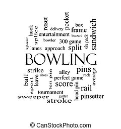 Bowling Word Cloud Concept in black and white with great...