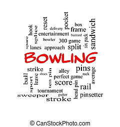 Bowling Word Cloud Concept in red caps