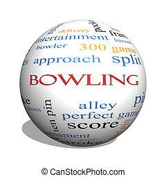 Bowling 3D sphere Word Cloud Concept