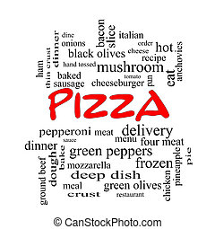 Pizza Word Cloud Concept in red caps