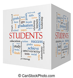 Students 3D cube Word Cloud Concept with great terms such as...