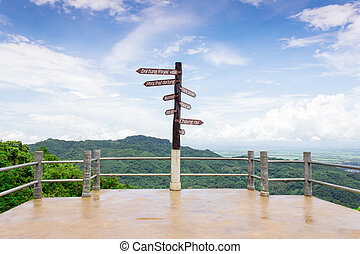 wooden sign giving directions. Viewpoint Doi Tung