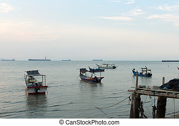 Fisherman village in Penang Malaysia during evening