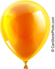 Orange birthday or party balloon - An illustration of an...