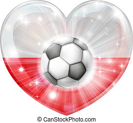 Polish soccer heart flag - Poland soccer football ball flag...