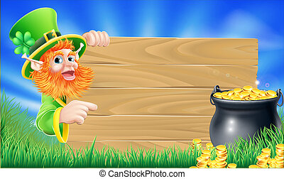 Saint Patricks day leprechaun scene - Cartoon Saint Patricks...