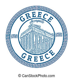 Greece stamp - Blue grunge rubber stamp with the Parthenon...