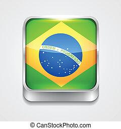 flag of brazil - vector 3d style flag icon of brazil