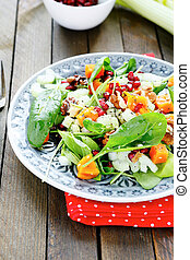 vitamin salad with pumpkin and spinach