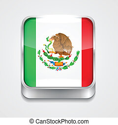 flag of mexico - vector 3d style flag icon of mexico