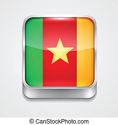 flag of cameroon - vector 3d style flag icon of cameroon