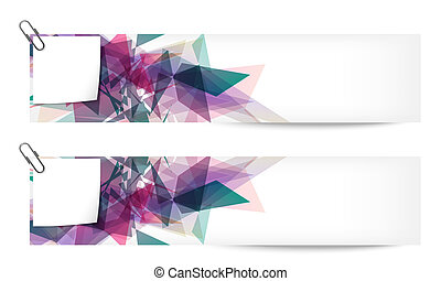set of two abstract banners with note