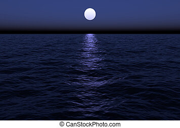 Moon Over Water - The moon reflects in the water as it hangs...