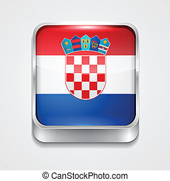 flag of croatia - vector 3d style flag icon of croatia