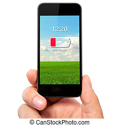 isolated man hand holding the phone with low battery on a...