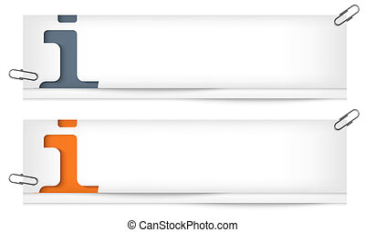 set of two blank banners with info sign
