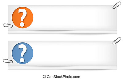 set of two blank banners with question mark