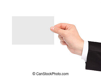isolated hand of a businessman holding a piece of paper -...