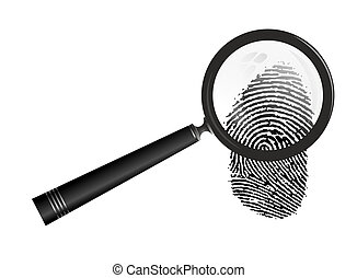 fingerprint - abstract illustration of magnifier examining a...