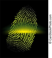 fingerprint - an abstract illustration of a yellow...