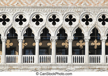 Palace Ducale Venice - White marble columns at Palace Ducale...