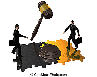 Gavel,puzzle and businessman
