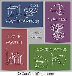 Mathematics chalky banners - Illustration of mathematics...