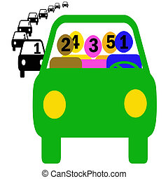 car pool saves - green vehicle with assorted figures...