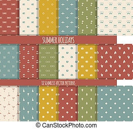 Set of summer seamless patterns - Set of eighteen simple...
