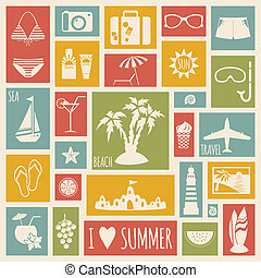 Summer holiday card with flat elements
