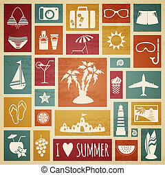 Summer holiday card with flat elements.