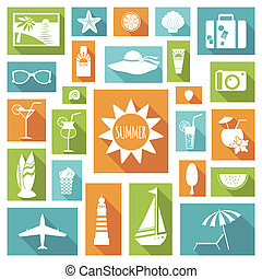 Summer holiday flat elements - Set of summer holiday flat...