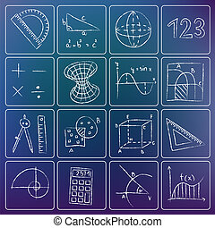 Mathematics chalky icons - Illustration of mathematics icons...