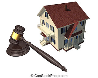 Home and gavel isolated