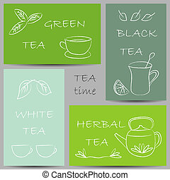 Tea chalky doodles on banners - Illustration of tea chalky...