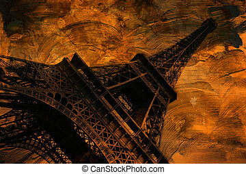 Grunge Eiffel tower art, Paris - Grunge eiffel tower digital...