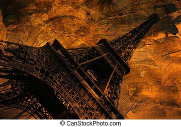 Grunge Eiffel tower art, Paris - Grunge eiffel tower digital...