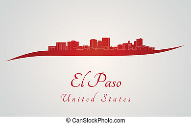 El Paso skyline in red and gray background in editable...
