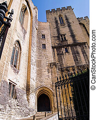the Popes palace in Avignon, France - The Entrance in the...