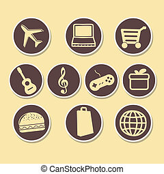 iconography - ten brown icons with yellow silhouettes of...