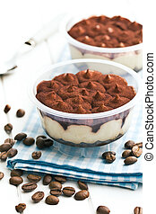 dessert tiramisu and coffee beans