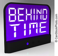 Behind Time Clock Shows Running Late Or Overdue - Behind...