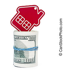 red home sign on hundred dollar bills. Real Estate business Concept
