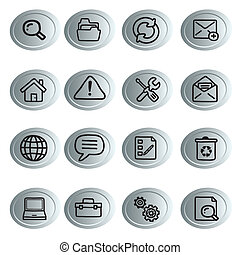 iconography - sixteen green icons with black silhouettes of...