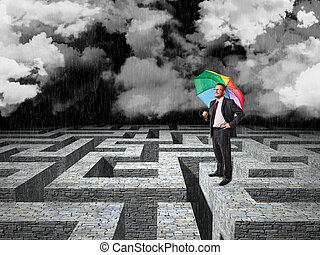 bad time - man with umbrella and 3d maze background