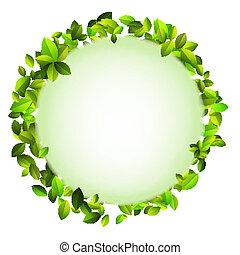 Fresh green leaves border + EPS10 vector file