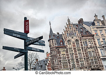 Tourist signpost in center of Brussels, Belgium