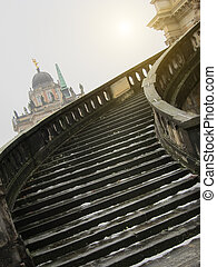 Stairway of The Sanssouci Palace in winter. Potsdam, Germany