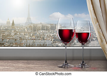View of Paris and Eiffel tower from window with two glasses...