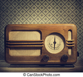Vintage Radio - Antique radio on retro background